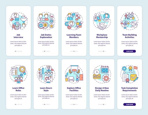 Écran de la page de l'application mobile d'intégration des activités de consolidation d'équipe avec ensemble de concepts. procédure pas à pas des exigences de la tâche en dix étapes. illustrations de modèles d'interface utilisateur