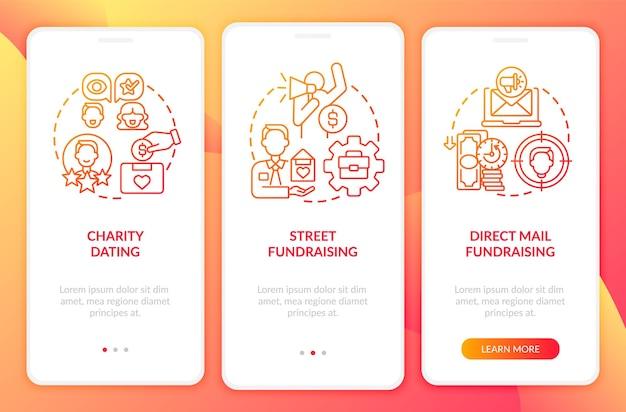 Écran de la page de l'application mobile d'intégration des activités philanthropiques