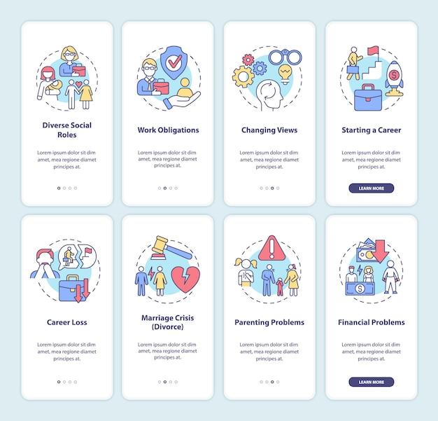 Écran de la page de l'application mobile d'intégration à l'âge adulte