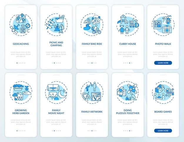 Écran de la page de l'application mobile d'intégration amusante en famille avec ensemble de concepts. activités familiales en plein air avec les enfants. procédure pas à pas de liaison 10 étapes. modèle d'interface utilisateur avec illustrations en couleurs rvb