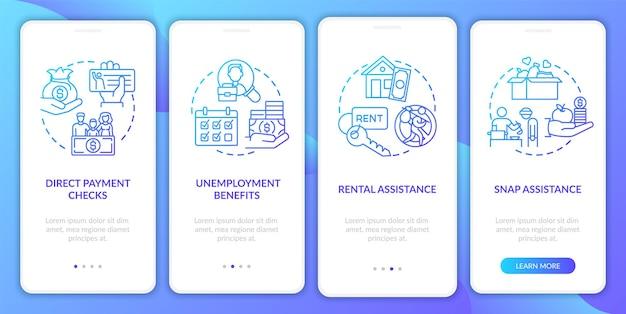 Écran de la page de l'application mobile d'intégration de l'assistance snap avec des concepts. le paquet de secours covid présente les 4 étapes de la procédure pas à pas. modèle d'interface utilisateur avec illustrations en couleurs rvb