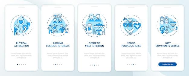 Écran de la page de l'application mobile d'intégration de l'attraction physique avec les concepts ns