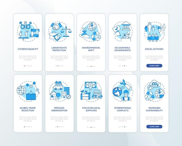 Écran de page d'application mobile d'intégration des avantages du changement social avec ensemble de concepts