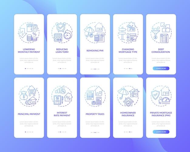 Écran de la page de l'application mobile d'intégration des avantages de l'emprunt hypothécaire