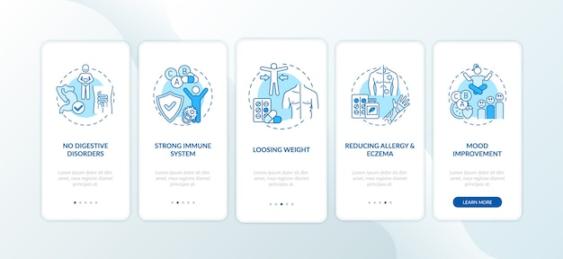 Écran de la page de l'application mobile d'intégration des avantages des probiotiques avec concepts