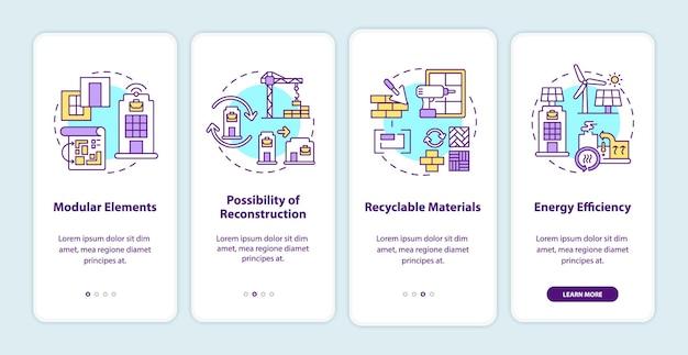 Écran de la page de l'application mobile d'intégration des besoins futurs en matière d'immeuble de bureaux avec des concepts. reconstruction walkthrough 4 étapes instructions graphiques.