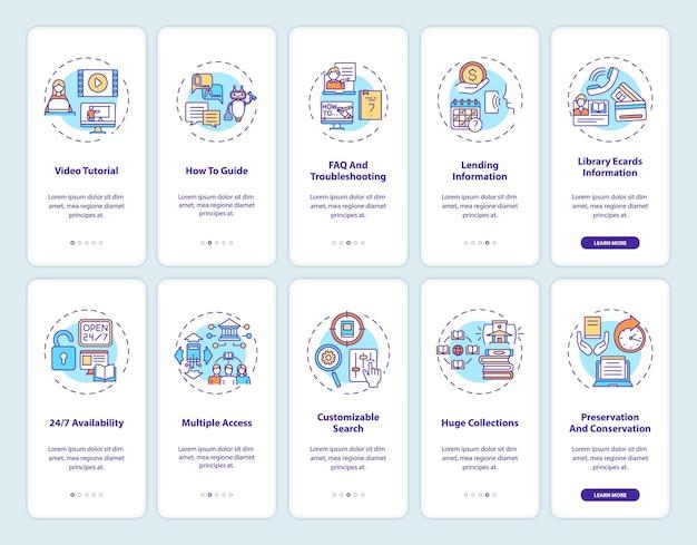 Écran de la page de l'application mobile d'intégration de la bibliothèque en ligne avec des concepts. types de bibliothèques numériques: instructions graphiques en 10 étapes. modèle d'interface utilisateur avec illustrations en couleurs rvb