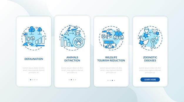 Écran de la page de l'application mobile d'intégration de bleu de dommages de la nature avec des concepts