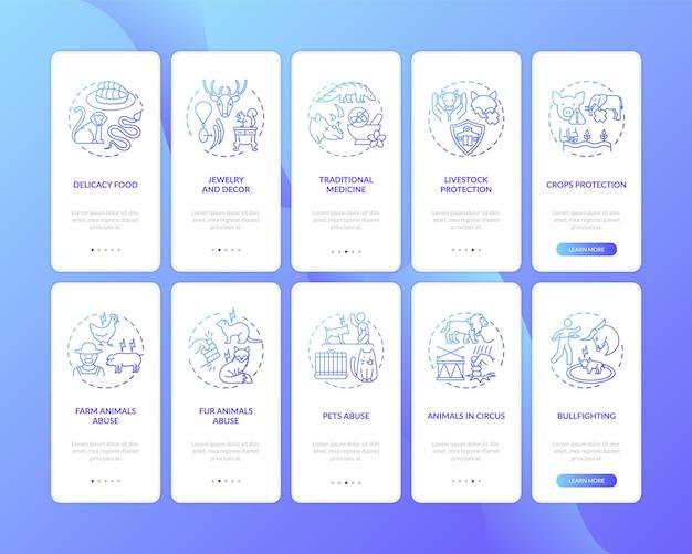 Écran de page d'application mobile d'intégration bleu foncé de conservation de la faune avec ensemble de concepts