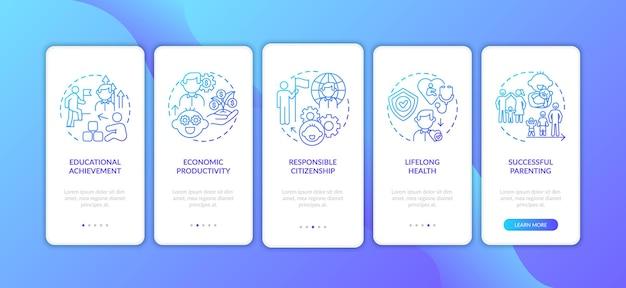 Écran de la page de l'application mobile d'intégration bleu foncé du développement de l'enfance avec des concepts