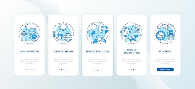 Écran de la page de l'application mobile d'intégration bleue de dommages environnementaux avec des concepts