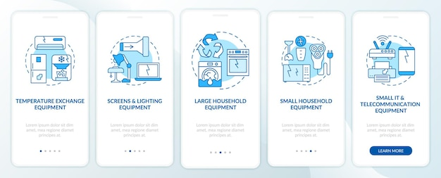 Écran de la page de l'application mobile d'intégration des catégories etrash
