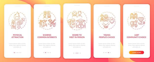 Écran de la page de l'application mobile d'intégration des centres d'intérêt communs