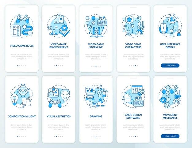 Écran de page d'application mobile d'intégration de conception de jeux vidéo avec ensemble de concepts