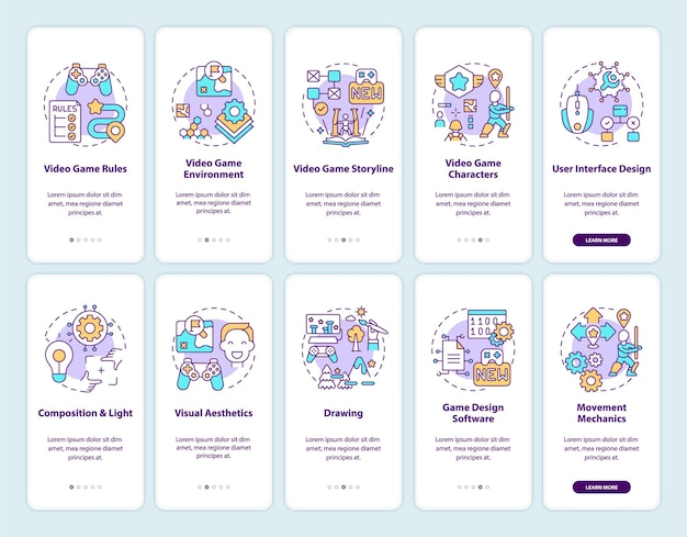 Écran de page de l'application mobile d'intégration de la conception de jeux vidéo avec illustration de jeu de concepts