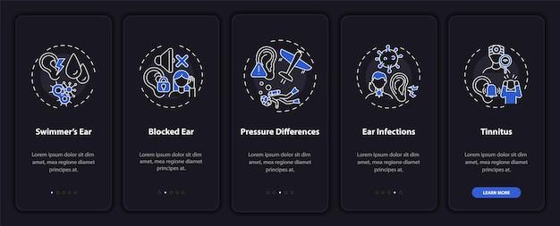 Écran de page d'application mobile d'intégration de conditions d'oreille courantes avec des concepts