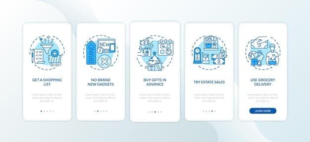 Écran de la page de l'application mobile d'intégration des conseils d'achat avec des concepts