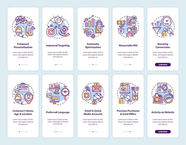 Écran de page d'application mobile d'intégration de contenu intelligent avec ensemble de concepts. stratégies de ciblage pas à pas avec instructions graphiques en 5 étapes.