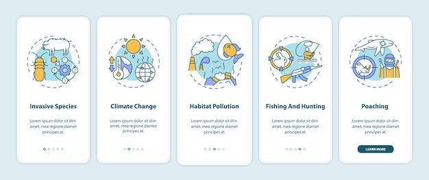 Écran de la page de l'application mobile d'intégration des dommages environnementaux avec des concepts