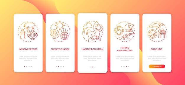 Écran de page de l'application mobile d'intégration des dommages environnementaux rouge avec des concepts
