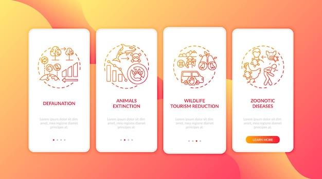 Écran de la page de l'application mobile d'intégration des dommages de la nature rouge avec des concepts