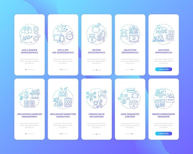 Écran de la page de l'application mobile d'intégration des données démographiques sur les réseaux sociaux