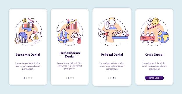 Écran de la page de l'application mobile d'intégration du déni humanitaire. procédure pas à pas de déni politique et de crise instructions graphiques en 3 étapes avec des concepts. modèle vectoriel ui, ux, gui avec illustrations linéaires en couleurs