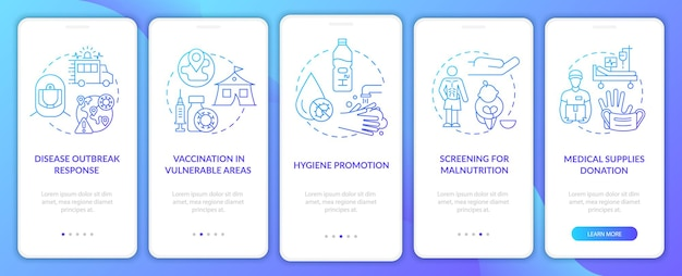 Écran de la page de l'application mobile d'intégration du dépistage de la malnutrition