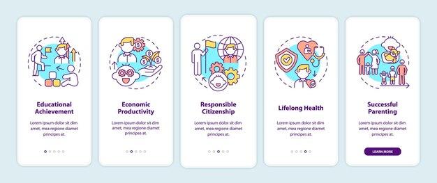 Écran de la page de l'application mobile d'intégration du développement de l'enfance avec des concepts