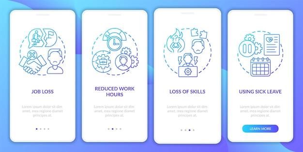 Écran de la page de l'application mobile d'intégration du syndrome de covid et de l'emploi avec des concepts. perte de compétences pas à pas en 5 étapes. modèle d'interface utilisateur avec illustrations en couleurs rvb
