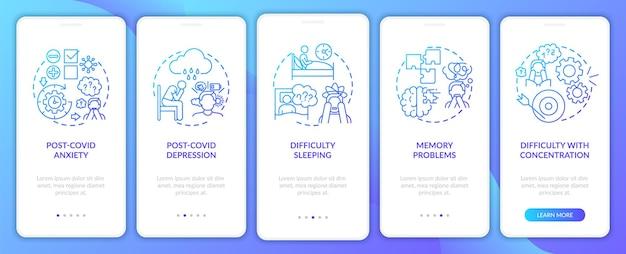 Écran de page de l'application mobile d'intégration du syndrome post-covid et de la santé mentale avec des concepts. problèmes de mémoire pas à pas en 5 étapes. modèle d'interface utilisateur avec illustrations en couleurs rvb