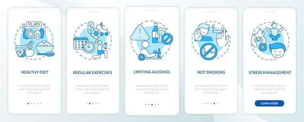 Écran de la page de l'application mobile d'intégration du traitement de l'hypertension. des exercices réguliers pas à pas, des instructions graphiques en 5 étapes avec des concepts. modèle vectoriel ui, ux, gui avec illustrations linéaires en couleurs