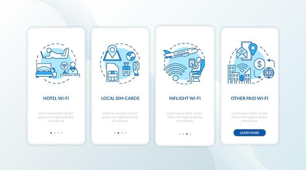 Écran de la page de l'application mobile d'intégration du wi-fi et de la carte sim locale avec des concepts. instructions graphiques pas à pas pour les hôtels et les vols wi-fi en 4 étapes. modèle vectoriel d'interface utilisateur avec illustrations en couleur rvb