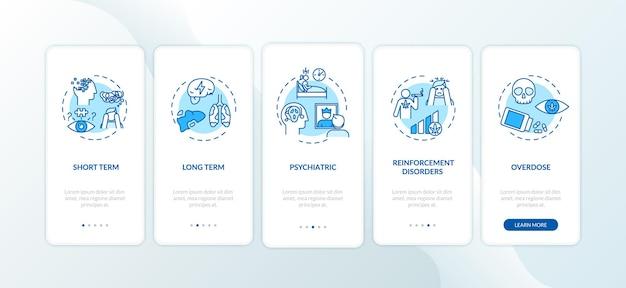 Écran de la page de l'application mobile d'intégration des effets indésirables du cannabis avec des concepts. chanvre à l'aide d'instructions graphiques de réaction à court terme en 5 étapes. modèle vectoriel d'interface utilisateur avec illustrations en couleur rvb