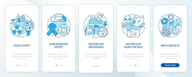 Écran de page d'application mobile d'intégration des effets sur la santé des microplastiques avec des concepts. procédure pas à pas pour les anomalies congénitales instructions graphiques en 5 étapes. modèle d'interface utilisateur avec illustrations en couleurs rvb