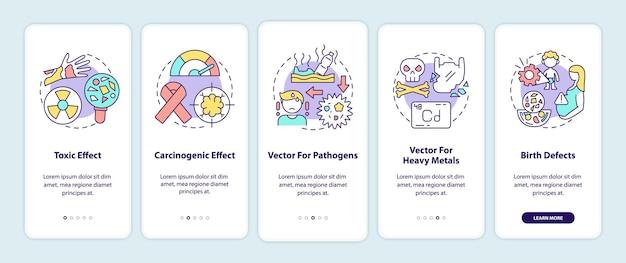 Écran de la page de l'application mobile d'intégration des effets sur la santé des microplastiques avec des concepts