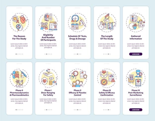 Écran de la page de l'application mobile d'intégration des études cliniques avec ensemble de concepts. procédure pas à pas pour la planification de l'expérience formelle instructions graphiques en 5 étapes.