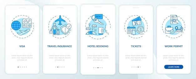 Écran de la page de l'application mobile d'intégration des exigences de voyage d'affaires avec des concepts