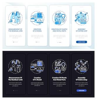 Écran de la page de l'application mobile d'intégration de la fabrication d'implants avec des concepts