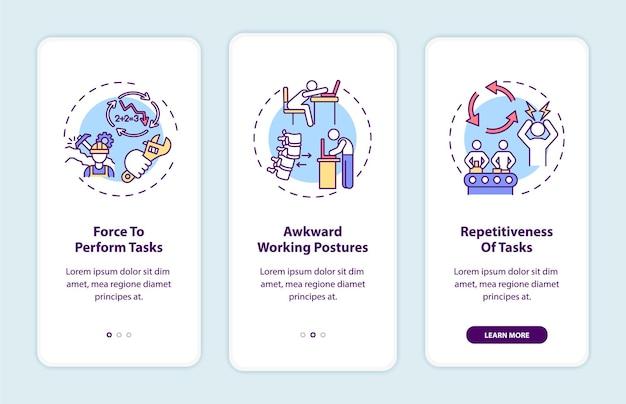 Écran de la page de l'application mobile d'intégration des facteurs de stress ergonomiques avec concepts