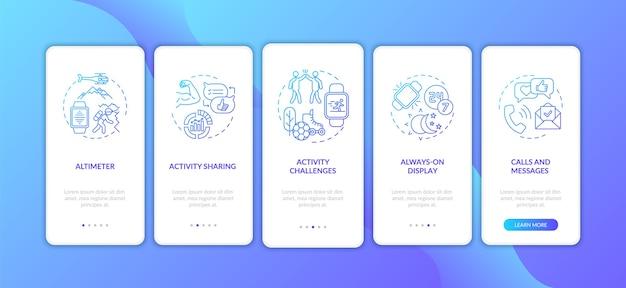 Écran de la page de l'application mobile d'intégration des fonctionnalités de la montre intelligente avec des concepts