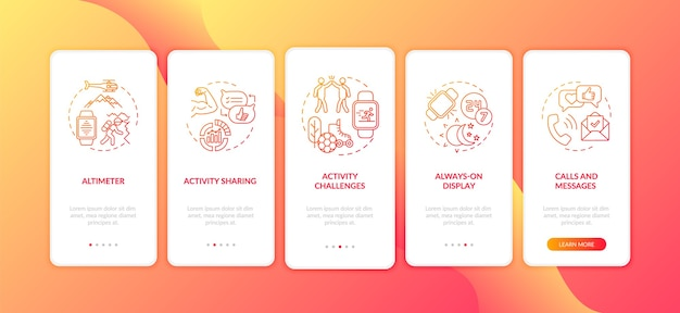 Écran de la page de l'application mobile d'intégration des fonctionnalités de la montre intelligente
