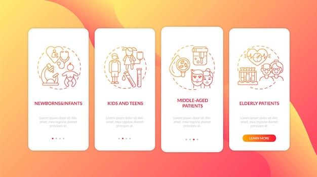 Écran de la page de l'application mobile d'intégration des groupes d'âge de dépistage de la santé avec des concepts