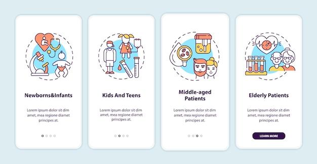 Écran de la page de l'application mobile d'intégration des groupes d'âge de dépistage de la santé avec illustrations de concepts