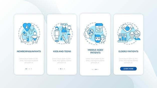 Écran de la page de l'application mobile d'intégration des groupes d'âge du bilan de santé avec concepts