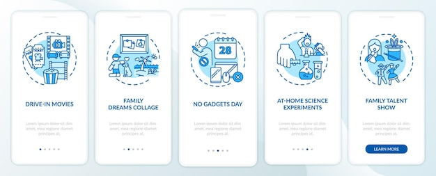 Écran de page de l'application mobile d'intégration d'idées amusantes en famille avec des concepts. procédure pas à pas de collage de photo de famille en 5 étapes. modèle d'interface utilisateur avec illustrations en couleurs rvb