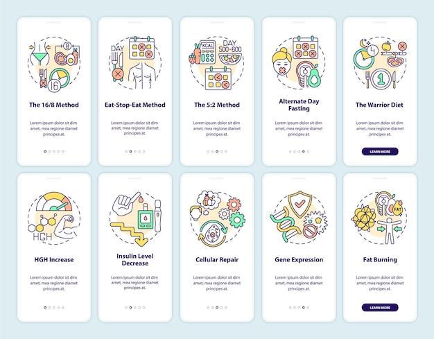Écran de page d'application mobile d'intégration de jeûne intermittent avec ensemble de concepts. alimentation équilibrée. procédure pas à pas de régime 5 étapes. modèle d'interface utilisateur avec illustrations en couleurs rvb