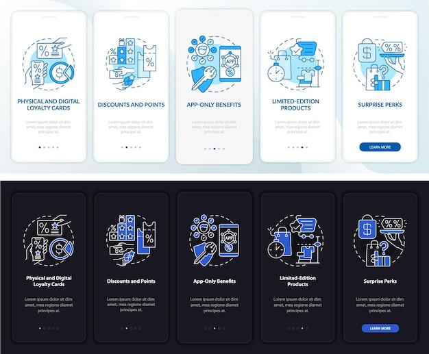 Écran de la page de l'application mobile d'intégration de jour et de nuit du programme de fidélité d'épicerie. instructions graphiques pas à pas en 5 étapes avec des concepts. modèle vectoriel ui, ux, gui avec illustrations linéaires en mode jour et nuit