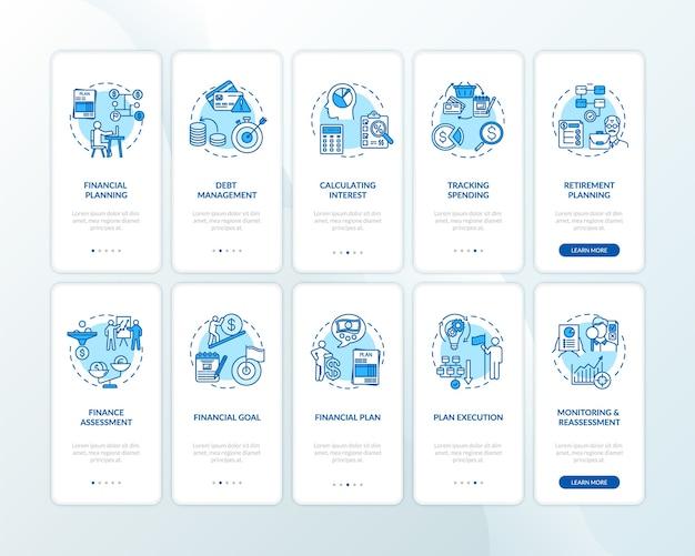 Écran de page de l'application mobile d'intégration de la littératie financière avec ensemble de concepts