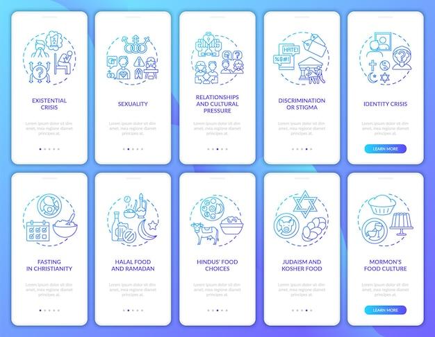 Écran de page de l'application mobile d'intégration de la marine des religions du monde avec ensemble de concepts. nourriture et jeûne. procédure pas à pas sur les questions religieuses 5 étapes graphiques. modèle d'interface utilisateur avec illustrations en couleurs rvb